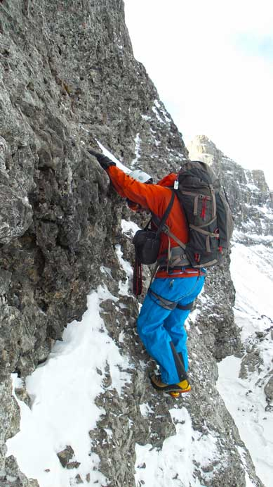 This picture clearly shows the angle of terrain at the crux. Snow only made things harder.