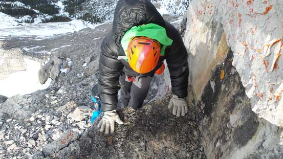 This ledge terminates at another scrambling section