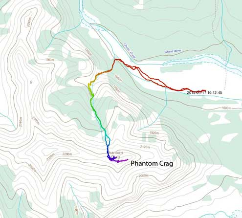 Phantom Crag ascent route