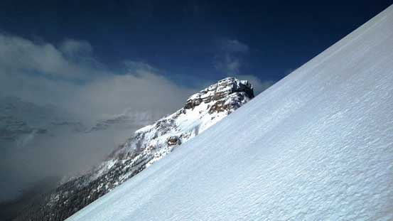 Exiting the gully. Here's the terrain just above treeline.
