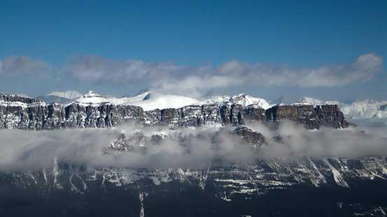 The classic view of Castle Mountain Massive
