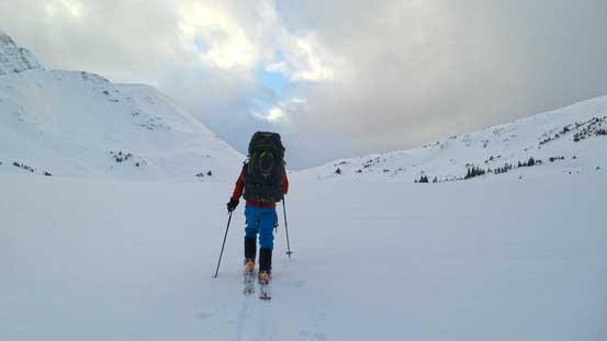 Ben leading towards the distant South Miette Pass