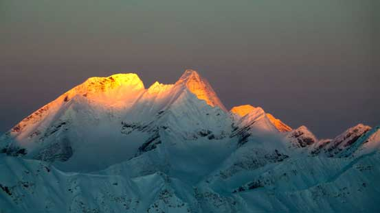 Glow on the distant giant - Mt. Robson.