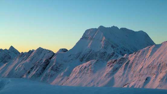 Caledonia Mountain on alpenglow