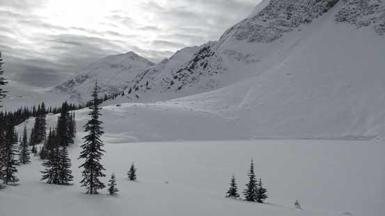 A frozen lake on the traverse
