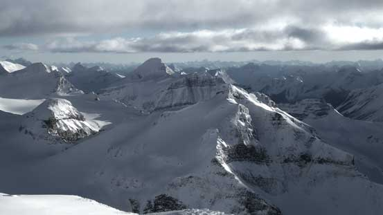 Mt. Des Poilus rises behind Ayesha Peak. Des Poilus will be my last major summit on the entire Wapta Icefield!