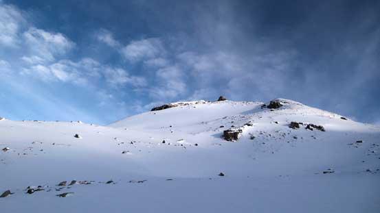 At the base of Peyto Peak, looking up