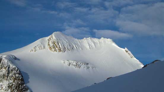 Trapper Peak on sunshine. You can see the gigantic cornice on its standard route - not in a good shape...