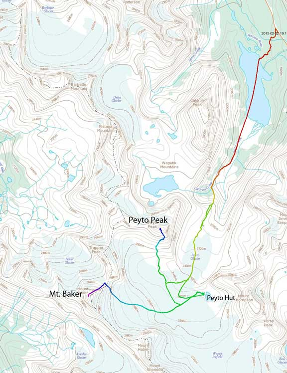 Ski ascent route for Mt. Baker and Peyto Peak