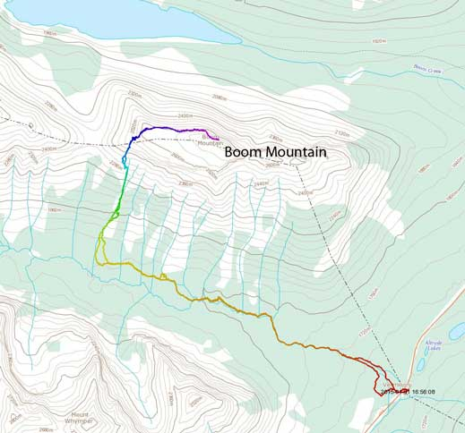 Boom Mountain ski/snowshoe ascent route