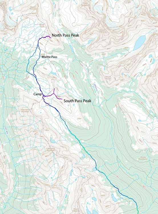Miette Pass Peaks ski ascent route