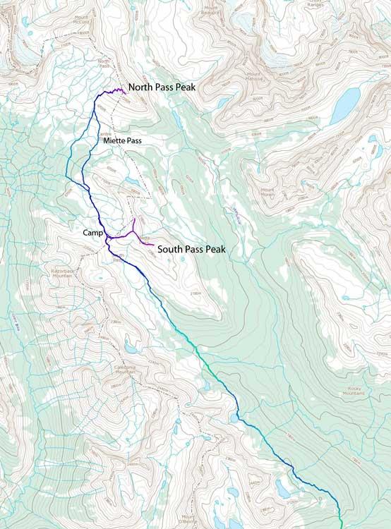 Miette Pass Peaks ski ascent route