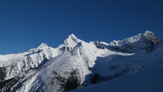 A view of Avalanche Mountain, Eagle Peak and Uto Peak