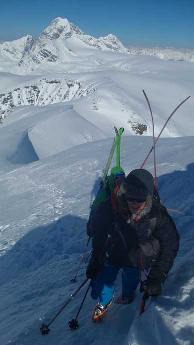Bootpacking with skis on our backpacks