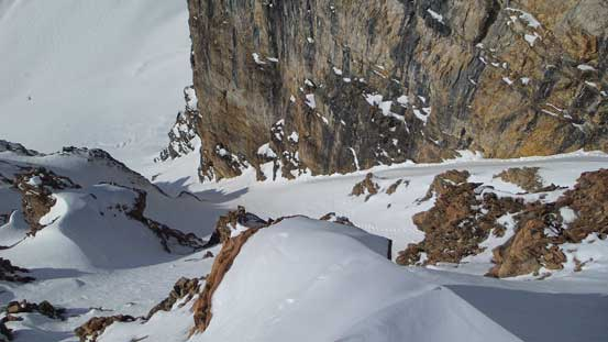 Looking down at the south couloir route. I think this would be the faster way in this day