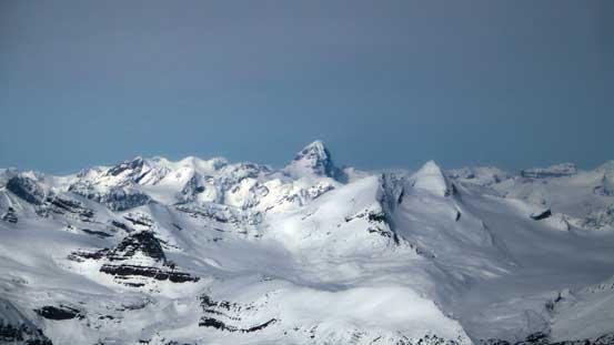 Mt. Forbes pokes behind Mt. Des Poilus
