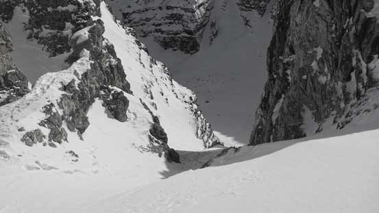 Looking down the south couloir route