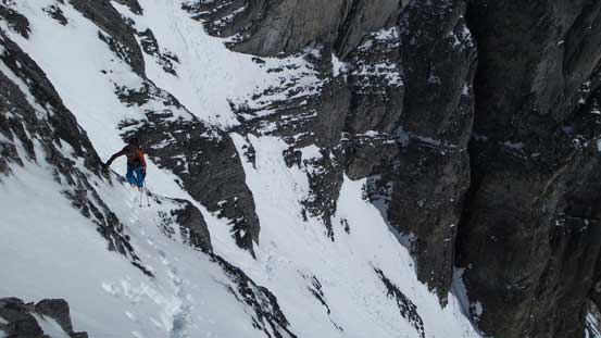 Ben traversing some narrow and thin ledges