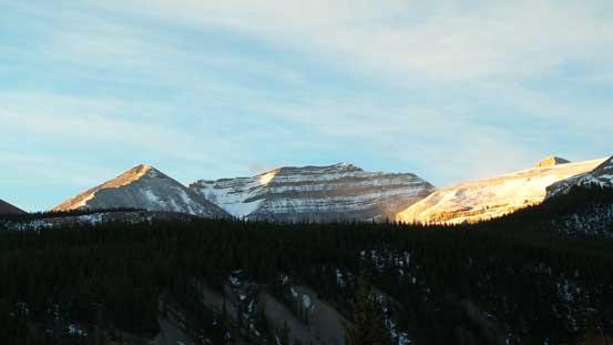 A bit of alpenglow on Barrier Mountain