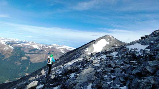 The final traverse to the true summit