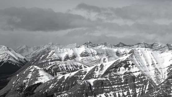 Peaks behind the shoulder of Wapiti Mountain including Mt. Tyrrell
