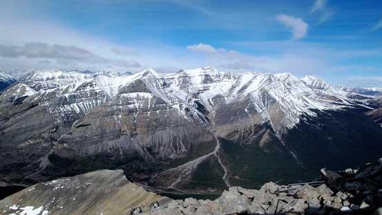 The huge bulk of Wapiti Mountain