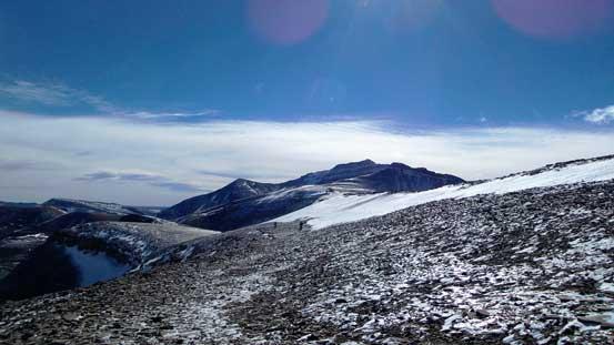 Traversing back along the broad ridge