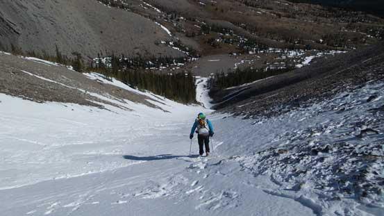 Vern descending the main gully