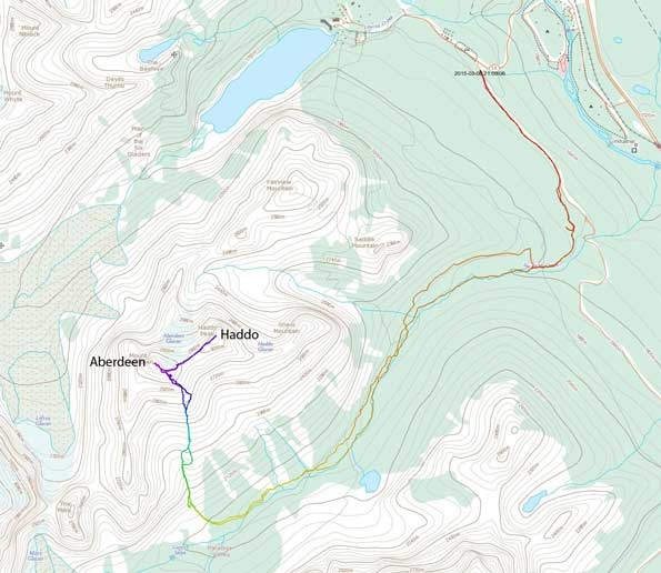 Ascent route for Mt. Aberdeen and Haddo via S. Face/S. Ridge