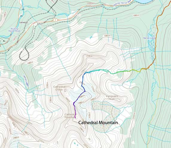 Cathedral Mountain ascent route