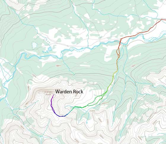 Warden Rock scramble route