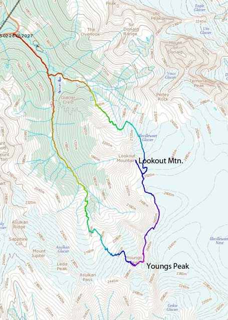 Youngs Peak Traverse route