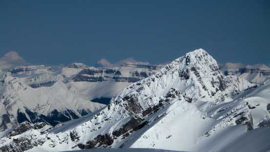 Looking over the shoulder of Howse Peak I could see giants on the Columbia Icefield