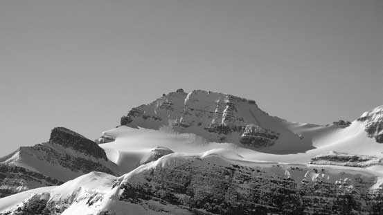 A zoomed-in view of Peyto Peak. You can see the summit nipple