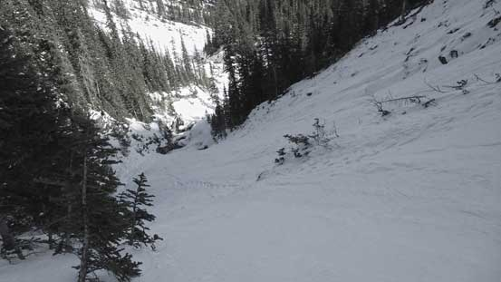 Now here's the crux... It's steeper than appeared. 40-degree snow climb.