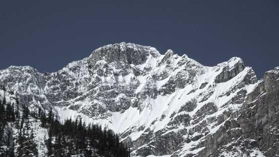 A zoomed-in view of Mt. Patterson's summit