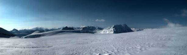 Panorama from the immense Columbia Icefield. Click to view large size.