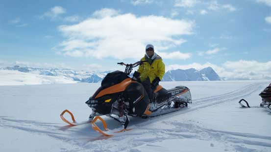 Oh here is me posing on one of the snowmobiles. Don't blame me though as I did not even know how to ride a machine like this...