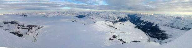 One of my favourite panoramas from this trip - looking down at the immense Columbia Icefield. Click to view large size.