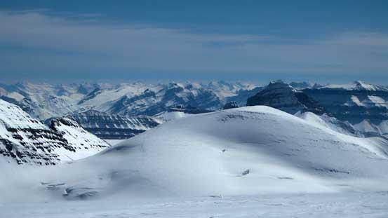 "Rising behind the summit hump of ""Androlumbia"" is Mt. Saskatchewan"