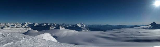 Panorama of Columbia Icefield from the summit. Click to view large size.
