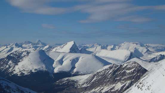 Behind Sunwapta Peak on the left skyline are Brazeau/Warren group