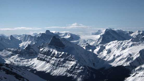 Behind Needle Peak are peaks on Hooker Icefield - Scott, Evans. Behind them is Mt. Clemenceau