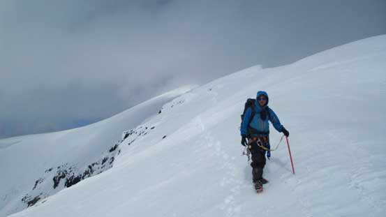 Liam descending the ridge on Simon