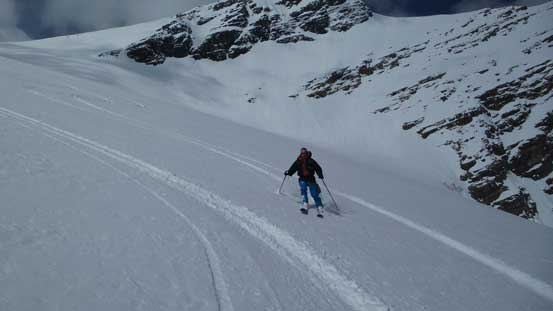 Ben skiing down Fraser Glacier