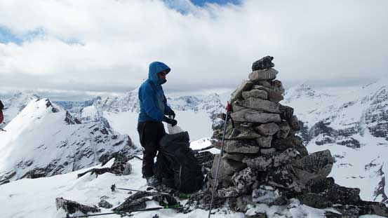 The summit cairn was huge
