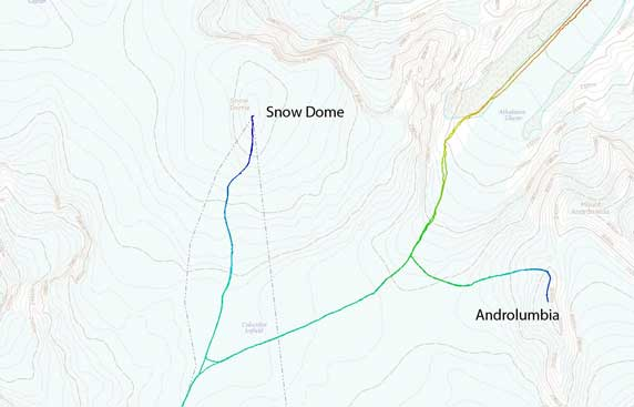 "Ascent route of Snow Dome and ""Androlumbia"""