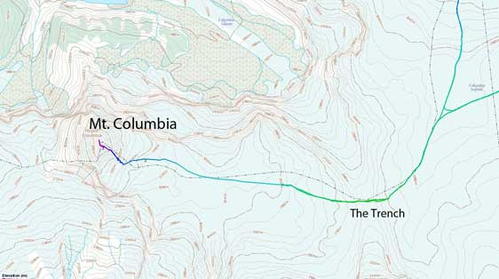 Mt. Columbia ski ascent route via The Trench