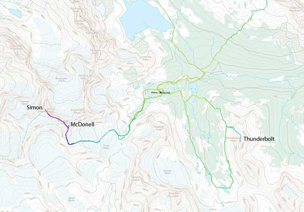 Ascent routes for Simon, McDonell and Thunderbolt