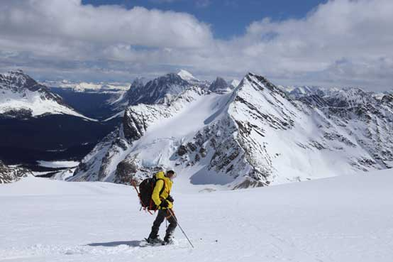 Me skiing the Fraser Glacier. Photo by Ben